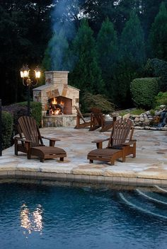 Pool + Outdoor Fireplace= Heaven