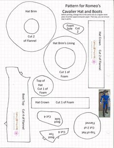 Pattern segments for making a cavalier-style hat and boots to fit 11.5 inch dolls like Ken, Barbie, or possibly GI Joe.