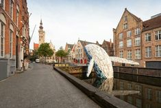 As part of the 2018 Bruges Triennial, Brooklyn-based StudioKCA created 'Skyscraper' a whale sculpture formed from 5 tons of ocean plastic. Bruges, 4 Story, Plastic Waste, Sculpture, Design Firms, Whale, Skyscraper, Street View, Swimming