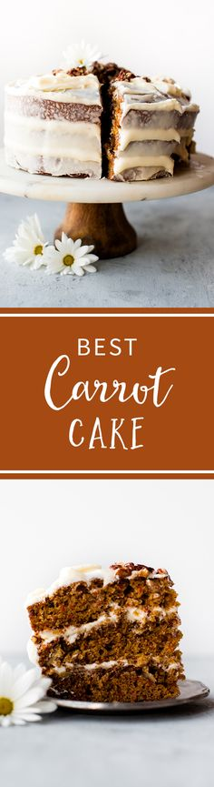Here is my favorite carrot cake recipe. It's simple, sweet, moist, flavorful, and topped with cream cheese frosting! Recipe on sallysbakingaddiction.com