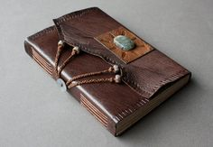 Aurora  leather journal with labradorite stone cabochon by veterok, $220.00