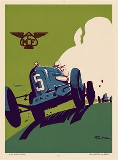 MCF by Ham 1920 France - Beautiful Vintage Poster Reproductions. This vertical French transportation poster features a blue race car, number 5, racing towards us against a green sky and white clouds. Giclee Advertising Print. Classic Posters