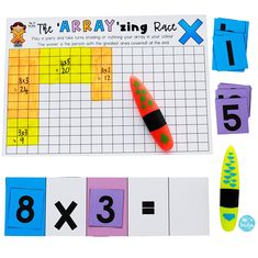 The 'Array'zing Race - practise multiplication in this fun game to colour the most boxes on the gameboard!Number of Players: To colour the greatest areaRules: Cut out the Arrays Game Cards 3rd Grade Games, 3rd Grade Activities, Third Grade Math, Multiplication Activities, Multiplication And Division, Multiplication Tables, Maths Games Ks2, Maths Resources, Array Math