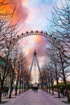 Gorgeous photograph of the London Eye in England at sunset. Did you know that said Ferris wheel doesn't actually ever stop? It just moves so slowly you can get on and off! It takes about 30 minutes to go around once, and wow, the views are spectacular!