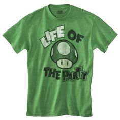 Nintendo Men's Life of the Party Mushroom Graphic Tee - Green