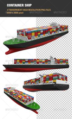 #3D Cargo #Container Ship - Objects 3D #Renders Download here: https://graphicriver.net/item/3d-cargo-container-ship/6534708?ref=alena994