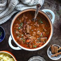This deliciously simple beef stew with tomatoes and red wine is easy to make in your Instant Pot, slow cooker or stove. The perfect comfort food for chilly winter nights. Beef Casserole Recipes, Lamb Recipes, Greek Recipes, Slow Cooker Recipes, Cooking Recipes, Healthy Recipes, Easy Beef Stew, Greek Dishes, Goulash