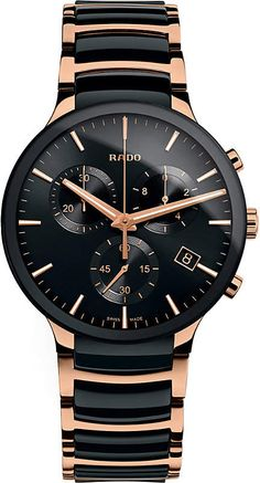 Guilloche-ringed subdials fuse tech functionality and fine polish at the face of a chronograph watch with a bracelet of burnished ceramic and stainless steel. Style Name:Rado Centrix Chronograph Ceramic Bracelet Watch, Style Number: Available in stores. Timex Watches, Men's Watches, Fashion Watches, Gold Watches, Wrist Watches, Men's Fashion, Luxury Watches For Men, Adjustable Bracelet, Watches Online