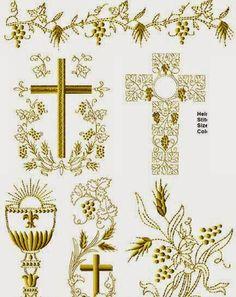 Embroidery Designs Free Download, Free Machine Embroidery Designs, Embroidery Patterns, Christian Symbols, Christian Art, Baby Decoration, Jesus Book, Première Communion, Altar Cloth