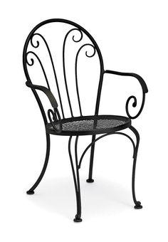 Bistro Chair in Wrought Iron w Decorative Scrollwork - Laurel