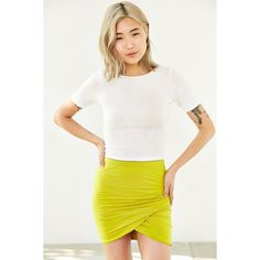 Bella Luxx Shirred-Front Skirt ($50) ❤ liked on Polyvore featuring skirts, mini skirts, chartreuse, white mini skirt, high rise skirts, ruched mini skirt, bella luxx and mini skirt