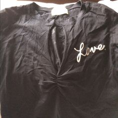 """Juicy Couture love vneck corset back T-shirt sz L Fabulous longsleeve V-neck tie up corset back Juicy Couture """"Love"""" t-shirt silver writing with rhinestones scattered about...very sexy on! Worn once. Paid 118$ at Juicy. Juicy Couture Tops Tees - Long Sleeve"""