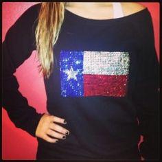 Texas flag crystal bling slouchy fleece or by BlingIsTheNewBlack, $55.00