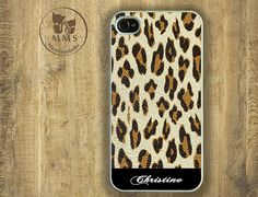 Personalized iPhone 5 Case, iPhone 4/4s Case, Samsung Galaxy S3-Silicone Rubber, Hard Plastic Case, Monogram mobile case-Leopard, Brown-N007 op Etsy, 10,73 €