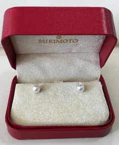 Genuine Mikimoto Pearls 6mm Pearl Stud Earrings 18K #Mikimoto #Stud