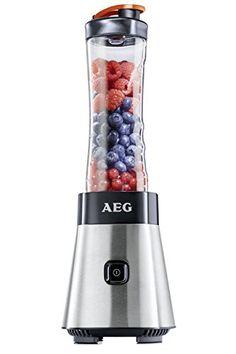 AEG PerfectMix SB 2400 Mini Mixer mit 0,4 PS-Power-Motor (bis zu 23.000 U/min, 4 Edelstahlmesser, bruchfeste 0,6 l BPA-freie Tritan-Trinkflasche, Standmixer und Smoothie Mixer) AEG