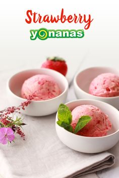 Only 2 Ingredients needed for this simply delicious & elegant Yonanas dessert: bananas & strawberries!