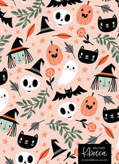 Halloween Pattern - Available for Licensing backgrounds wallpapers Art Licensing Halloween Mono, Looks Halloween, Halloween Tattoo, Halloween Party Decor, Scary Halloween, Halloween Crafts, Halloween Backdrop, Halloween Costumes, Kawaii Halloween