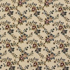 $27.59/yd (free S/H) F674 Beige Red And Green Floral Vine Tapestry Upholstery Fabric By The Yard #DiscountedDesignerUpholstery