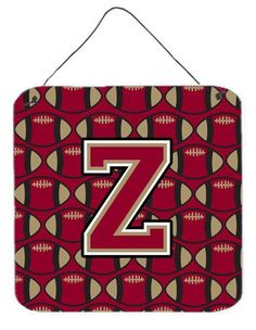 Letter Z Football Garnet and Gold Wall or Door Hanging Prints CJ1078-ZDS66
