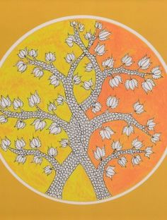 Tree of Life-Gond Art Summer Tray Diy Art Projects Canvas, Kalamkari Painting, Indian Art Paintings, Pichwai Paintings, Indian Folk Art, Indian Artist, Madhubani Art, Madhubani Painting, Fabric Painting