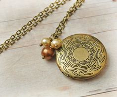 Gold Locket Jewelry Antique Locket Necklace by LimonBijoux on Etsy, $28.00