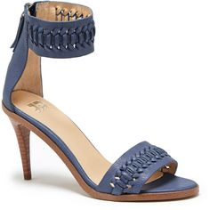 Joes Jeans Pax Leather Mid Heel ($62) ❤ liked on Polyvore featuring shoes, pumps, bright navy, navy leather shoes, navy blue leather shoes, woven-leather shoes, mid heel pumps and leather shoes