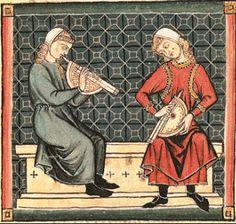 Instrumentos de viento medievales, que se pueden observar en una miniatura de las Cantigas de Santa María, de Alfonso X.