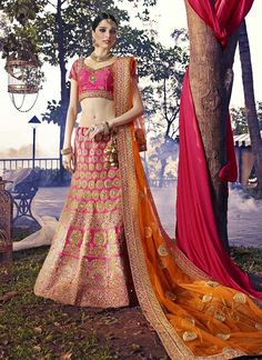 Pink Wedding Wear Art Silk Lehenga Choli