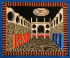 "art friedeberg | Pedro Friedeberg Surrealist Architectural Fantasy Painting ""RSVP"""