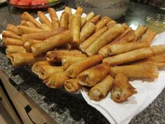 Another pin states: Oh how I miss lumpia. This recipe is for 150 rolls and it's hard to cut it down since it uses a single whole egg. but I'd like to try ti Filipino Recipes, Asian Recipes, Ethnic Recipes, Lumpia Recipe Filipino, Filipino Food, Lumpia Recipe Beef, Filipino Egg Rolls, Filipino Pancit, Guam Recipes