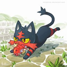 Gotta love Pokémon., miriamrez:   Litten fanart!! :3