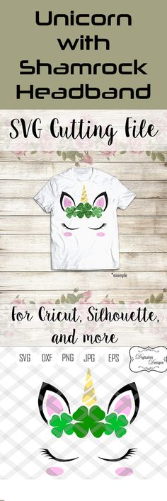 Decorate t-shirts, walls, a card, or whatever your imagination can come up with this Unicorn cutting file.  #ad #unicornparty #stpatricksday  #stpattysday #svg #svgfiles #cricut #walldecor #instantdownload #digitalart #png