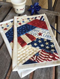 Patriotic Mug Rug Set of Two in deep red white and by knjStudio