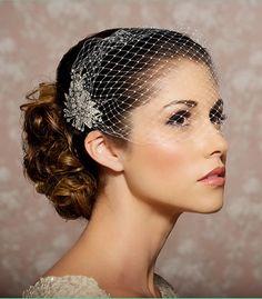Bridal Veil and Bridal Comb, Bandeau Birdcage Veil, Bird Cage Veil - READY TO SHIP - With Rhinestone Fascinator Comb - The Simona Veil