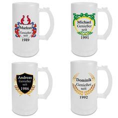 O'zapft is! Nicht nur zur Münchner Wiesn ein beliebtes Geschenk: Bierkrüge nach Ihren Wünschen personalisiert. - Variantenauswahl - Wunschname und Wunschjahr  - Bierkrug aus Glas - außen satiniert - 470 ml #Bierkrug #Glaskrug #Bier