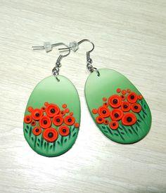 """Серьги из полимерной глины """"Маки"""" #handmade #polymerclay #poppy #ручнаяработа #украшенияручнойработы #полимернаяглина"""