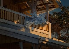 Mirror glass moose on my balcony with snow in the end of October.....