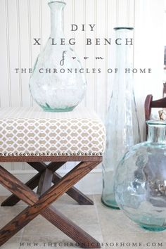 Tutorial for DIY X Leg Upholstered Bench by The Chronicles of Home