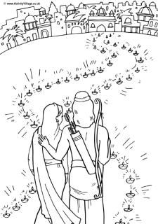 path of lights colouring page