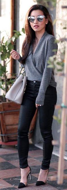 #winter #fashion / Grey Bandage / Black Skinny Jeans / Black Pumps