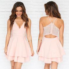 On Sale Great Prom Dresses 2018 Spaghetti Straps V Neck Short Prom Dress Homecoming Dress White Homecoming Dresses, Hoco Dresses, Prom Dress, Mini Dresses, Chiffon Dresses, Skater Dresses, Mini Robes, Pleated Shorts, Short Mini Dress