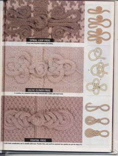 Frog closure styles & diagram for crochet or knit projects. Can also be used for closing fabric covered boxes or top closures for upcycled cardigans Loom Knitting, Knitting Stitches, Knitting Patterns, Sewing Patterns, Crochet Patterns, Irish Crochet, Crochet Motif, Knit Crochet, Crochet Frog