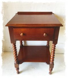 Antique Mahogany Side Table with Drawer and Barley Twist Design $195