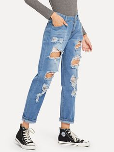 To find out about the Ripped Distressed Boyfriend Jeans at SHEIN, part of our latest Jeans ready to shop online today! Denim Overalls, Jeans Pants, Ripped Jeans, Denim Jeans, Mom Jeans, Jeans Dress, Trousers, Skinny Jeans, Moda Fashion