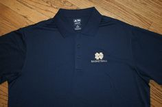Notre Dame Basketball Irish Blue Polo Golf Shirt Adidas Climalite Men XL X-Large #adidas #NotreDame