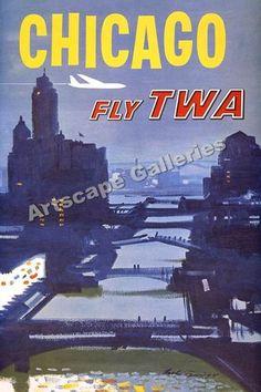 Chicago TWA Vintage Style Travel Poster - 24x36   eBay
