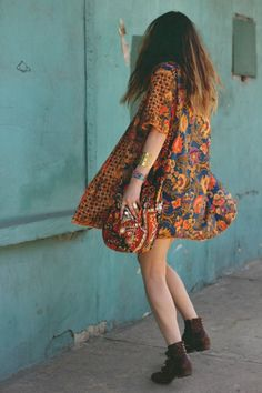bohemian patterned short sleeve dress with brown ankle boots