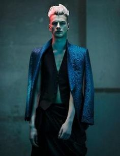 British model Benjamin Jarvis is photographed by Thomas Cooksey and styled by Christopher Preston in a Tom Ford story for the latest issue of HERO. Best Mens Fashion, Dark Fashion, Men's Fashion, Fashion Design, Ivan Bubalo, Silver Hair Men, Neon Noir, Male Models Poses, Night Portrait