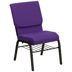 Flash Furniture HERCULES Series 18.5''W Church Chair in Purple Fabric with Book Rack - Gold Vein Frame